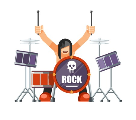 Rock musitian with long hair plays drums with special sticks Illustration