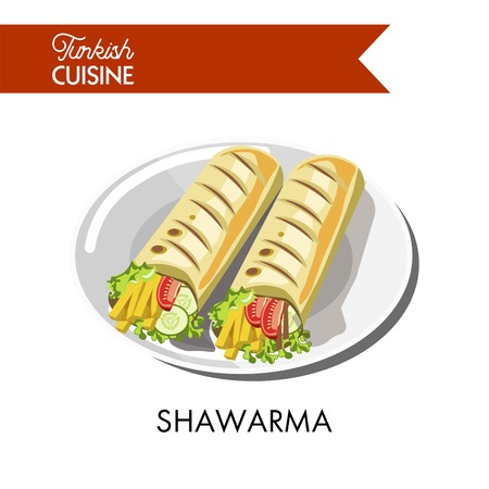 Delicious Turkish shawarma with fresh vegetables and cheese