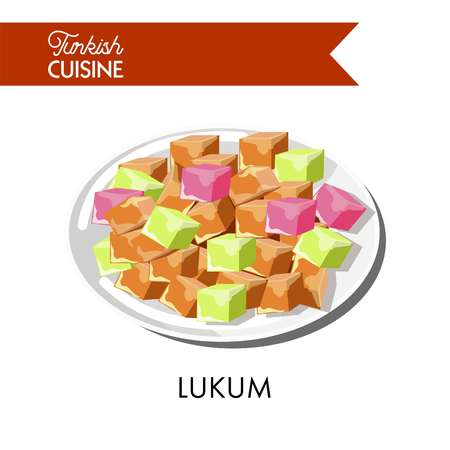 Colorful sweet Turkish lukum cubes on shiny plate
