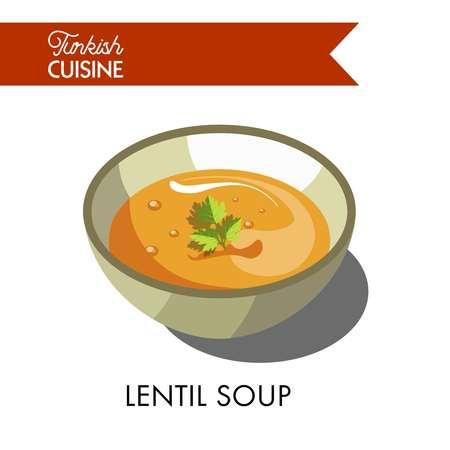 Turkish lentil soup with parsley in deep bowl Illustration