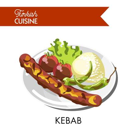 Tasty juicy kebab with roasted whole tomatoes and, hot chili pepper, soft rice and lettuce leaf served on shiny plate isolated vector illustration on white background. Turkish cuisine tasty dish.