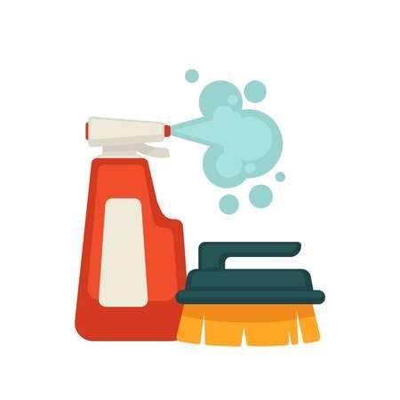 Botella de limpiador en spray y cepillo Ilustración de vector