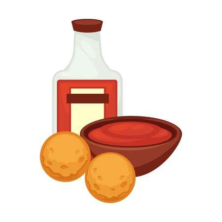 Patatas plato de comida fritos croquetas bolas snack vector plano icono Foto de archivo - 86912757