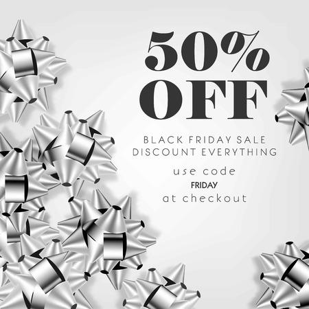 Black Friday Sale Rabatt Promo Angebot Poster oder Shop 50 Prozent Rabatt auf Werbeflyer und Coupon. Vector Design von silbernen Geschenkbögen auf funkelndem Funkelnhintergrund