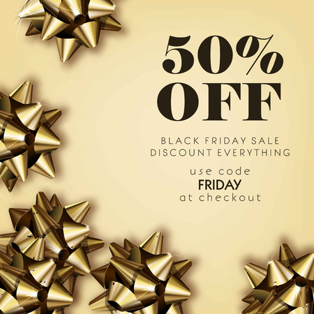 Black Friday sale discount for everything promo offer poster or advertising flyer and coupon. Vector 50 percent off design of gold gift bows on sparkling background