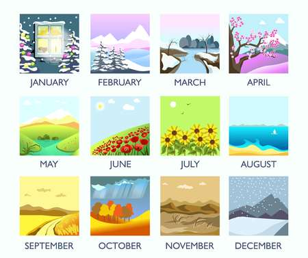 Four seasons month nature landscape winter, summer, autumn, spring vector flat scenery