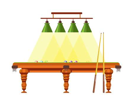 Wooden table for pool with long cues and lamps above