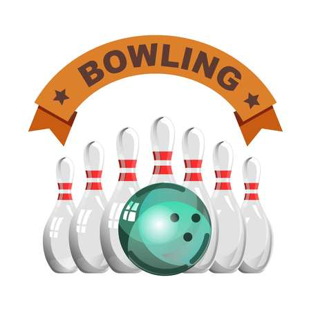 Bowling club emblem with glossy skittles and heavy ball