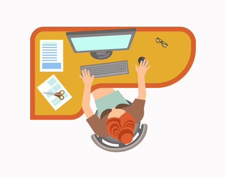 Woman works on computer at office isolated illustration Illustration