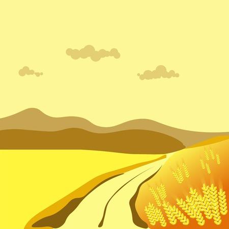 Summer or autumn season wheat field valley nature landscape vector flat scenery