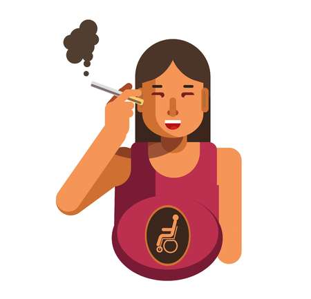 A Smoking cigarette woman health disease risk pregnancy malformation vector flat icon Illustration