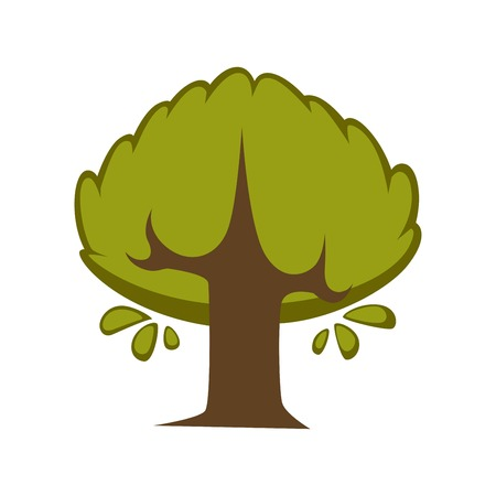 Green tree flat vector icon eco nature symbol of deciduous forest leaf