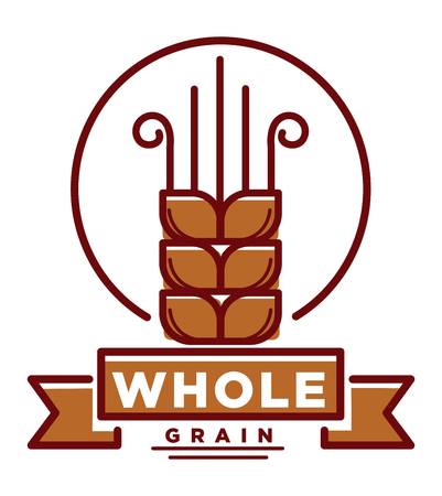 spica: Whole grain product emblem with small wheat ear Illustration