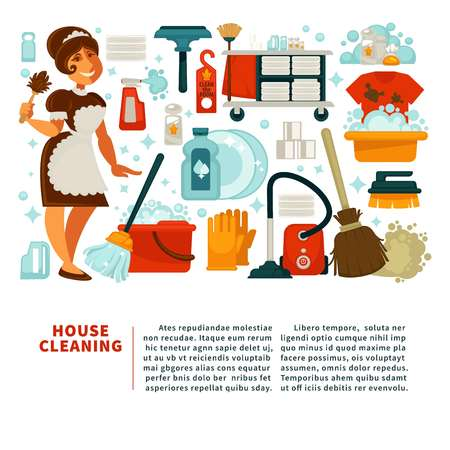 wiping: House cleaning service promotional banner with big text, maid in uniform and equipment for work with powerful cleaners in bottles isolated cartoon flat vector illustrations on white background.