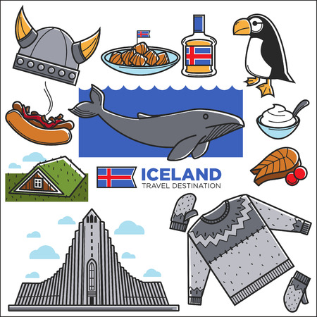 Iceland travel famous symbols and tourist sightseeing attraction landmarks. Icelandic flag, Reykjavik traditional food drink, Viking architecture building and Nordic nature animals. Vector icons