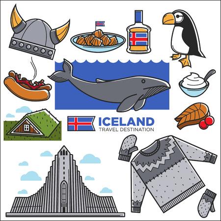 Islandia viaja símbolos famosos y lugares de interés de turismo turístico. Bandera islandesa, bebida de la comida tradicional de Reykjavik, edificio de la arquitectura de Vikingo y animales nórdicos de la naturaleza. Iconos de vector Foto de archivo - 87227025