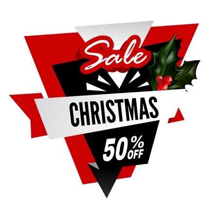 Big Christmas sale with 50% off promotional logotype with holly plant and sign in several fonts isolated cartoon vector illustration on white background. Discount for holiday presents advertisement. Illustration
