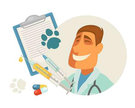 syringe: Pet vet or animal veterinary doctor or veterinarian clinic flat design. Vector vet profession man, pills or treatment and diagnosis or pet health prescription with paw print for medical infographic