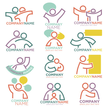 Family parents and child care logo templates. Vector symbols of mother and father for parental or orphan adoption and social organization or education company
