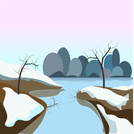 Winter landscape with transparent frozen water, small bare trees and clean snow on ground under clear blue sky with island on horizon vector illustration. Splendor view of wild nature in cold season