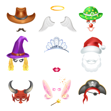 Video chat faces funny mask effect template icons for selfie vector video chat faces funny mask effect template icons for selfie filters vector flat isolated set of cowboy mustaches angel wings and clown hat maxwellsz