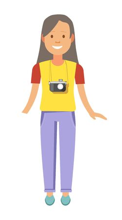 valise: Girl with long hair and camera