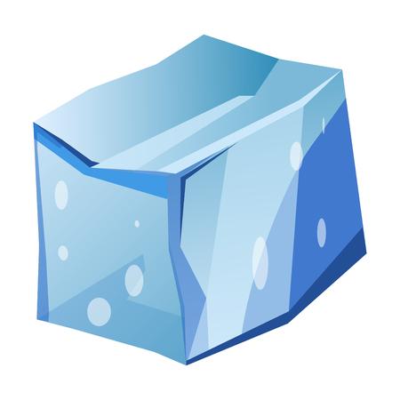 antarctica: Blue transparent uneven ice glacier piece isolated cartoon vector illustrations Illustration