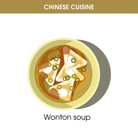Chinese cuisine Wonton soup traditional dish food vector icon for restaurant menu