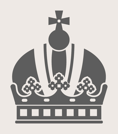 royal person: King crown with cross on top grey silhouette