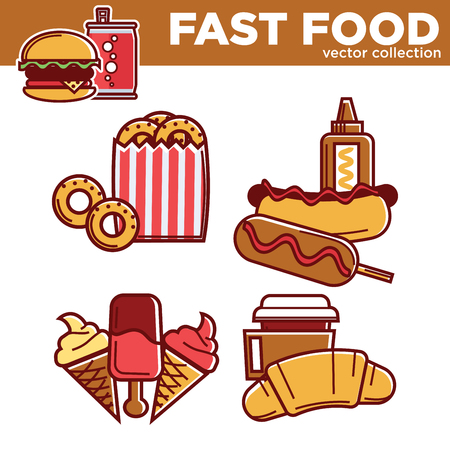 Tasty fast food vector collection with fat dishes