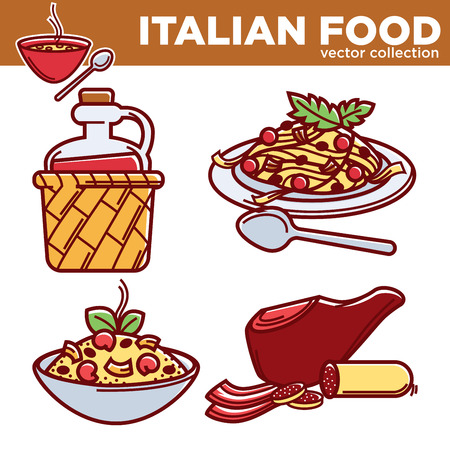 Italian food vector collection of delicious nutritious dishes