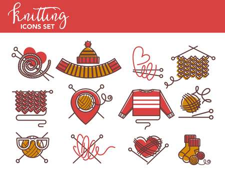 Knitting logo templates of knitted clothing or yarn knitwear