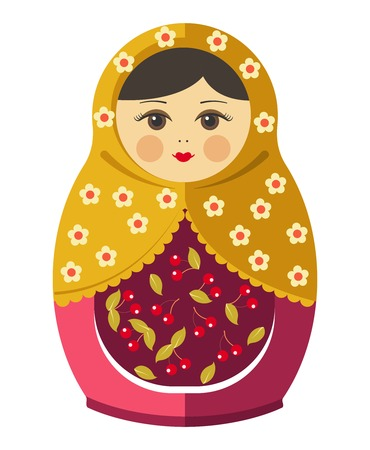 Matryoshka doll or Russian nesting doll with ornament Stok Fotoğraf - 87421870