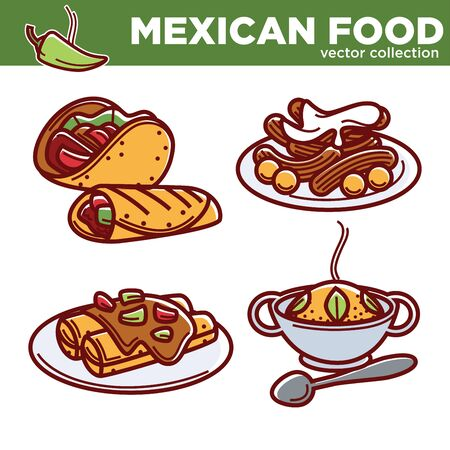 enchilada: Mexican food vector collection of tasty spicy dishes