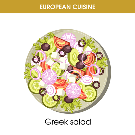 European cuisine Greek salad traditional dish food vector icon for restaurant menu
