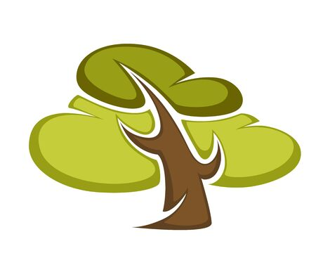 cypress: Green tree and tree leaf icon or logo template.