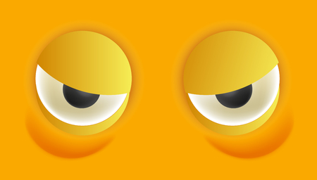 emotional stress: Smiley eyes isolated cartoon vector illustration Stock Photo