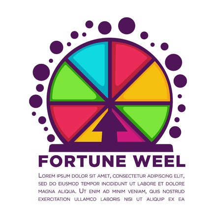 Fortune wheel made of colorful segments with sample text underneath