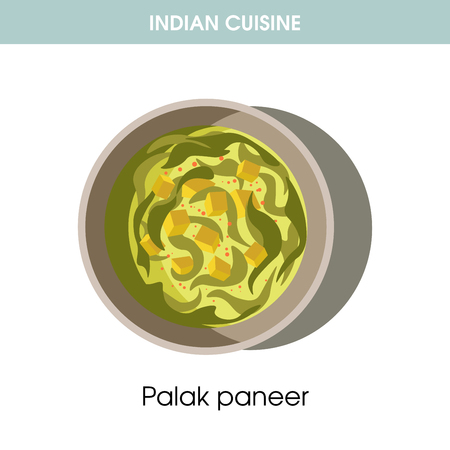 Indian cuisine Palak paneer traditional dish food vector icon for restaurant menu Illustration