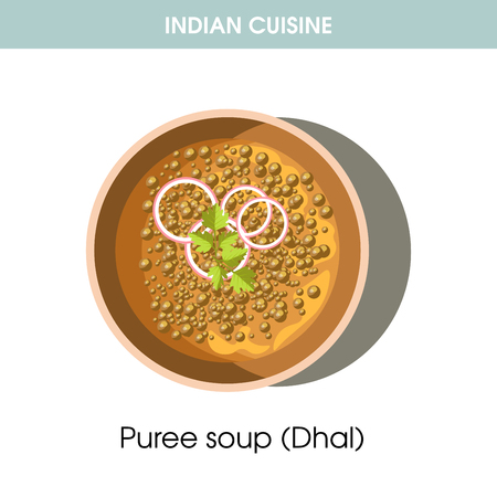 Indian cuisine Dhal puree soup traditional dish food vector icon restaurant menu Illustration