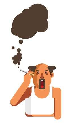 Half-bald man with beard smokes cigarette and spreads black smoke Illustration