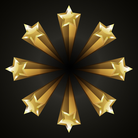 Golden bright shiny stars vector illustration Illustration