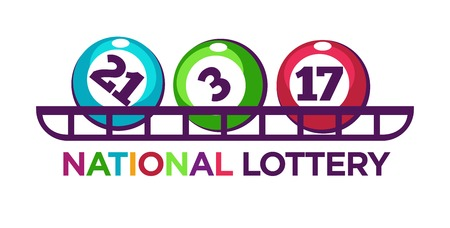 reflection: National lottery promotional logotype with numbered balls on shelf