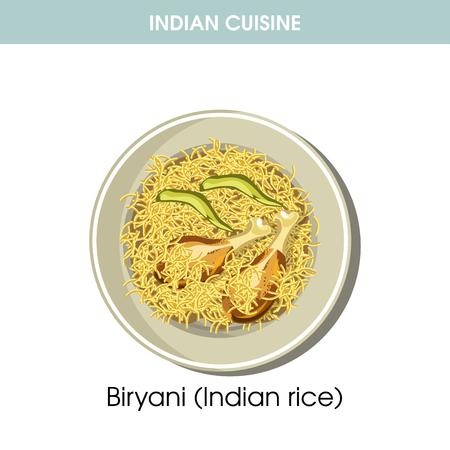 Indian cuisine Biryani rice traditional dish food vector icon for restaurant menu