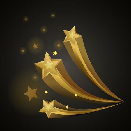 Golden bright shiny stars flying on black background. Radiant celestial bodies with sharp edges isolated cartoon vector illustration.