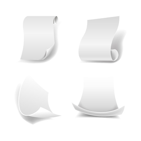 device: Blank paper sheets with curled edges and smooth surface that cast shadows isolated realistic vector illustration on white background. Simple equipment made of natural material to write on it.