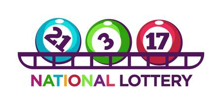 reflection: National lottery promotional logotype with numbered balls on shelf isolated cartoon vector illustration on white background. Funny way to earn easy money by gambling commercial bright emblem. Stock Photo