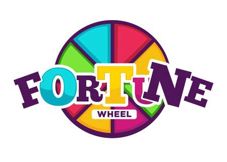 Bright fortune wheel made of colorful segments emblem. Illustration