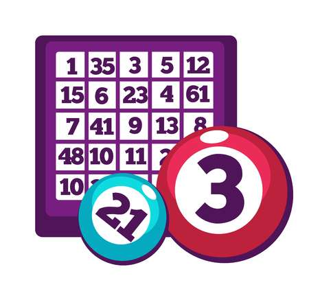 reflection: Board with numbers and numbered balls for bingo game.