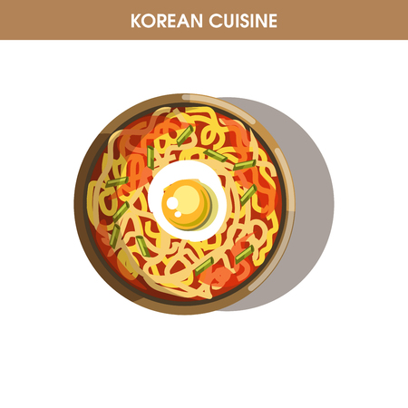 korean salad: Korean cuisine Ramen noodles traditional dish food vector icon for restaurant menu Illustration